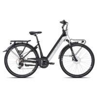"""1-Bicicletta E-Bike Olympia """"Roadster Comfort 700 """"Alluminio Donna Colore Nera-Bianca, Batteria 465 Wh"""