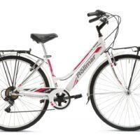 """2-Bicicletta City-Bike Marca Rollmar """"CLEVER"""" Donna Acciaio 6 V Misura 43 colore Bianca-Fucsia"""
