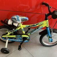 """Bicicletta Bimbo Rollmar """"SUPEREROE Ruota 14 Pollici""""-Acciaio -1 Velocità Colore Gialla-Azzurro"""