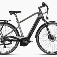 """1-Bicicletta E-Bike BOTTECCHIA  """"BE 21 TRK Uomo '"""" 28 Motore Centrale Batteria Panasonic 500 wh  Motore Oli Alluminio Uoml Argento-Antracite"""