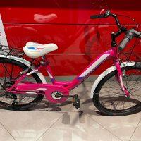 """1-Bicicletta Mtb Donna """"VENERE"""" 24 Acciaio 6 V Acciaio Colore Fuxia Bianca"""