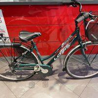 """Occasione Bicicletta City Donna 28 Pollici Alluminiò completa di cestino 7 Velocità Usata """"VERDE"""" Modello Loris Telaio Misura 43, USATA"""